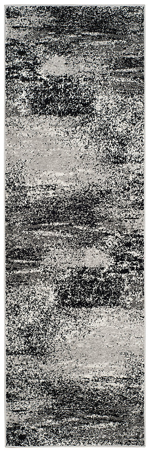 """Abstract 2'6"""" x 4' Runner Rug, Gray/Black, large"""