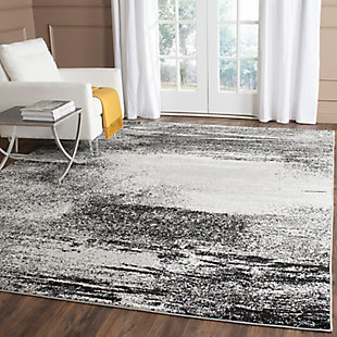 Abstract 6' x 6' Square Rug, Gray/Black, large