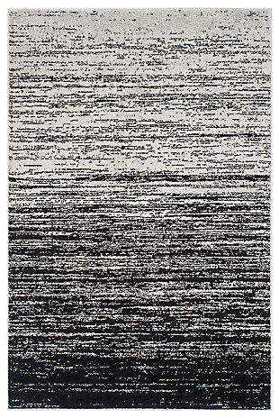 "Ombre 5'1"" x 7'6"" Area Rug, Gray/Black, large"