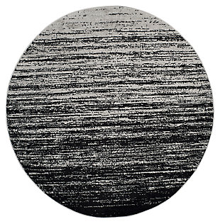 Ombre 8' x 8' Round Rug, Gray/Black, large