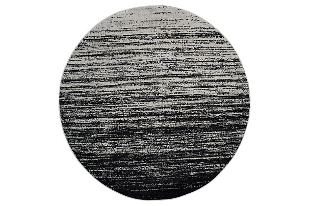 Ombre 4' x 4' Round Rug, Gray/Black, large