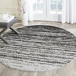 Ombre 8' x 8' Round Rug, Gray/Black, rollover