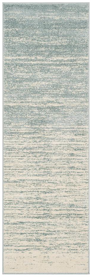 """Ombre 2'6"""" x 10' Runner Rug, Gray/White, large"""