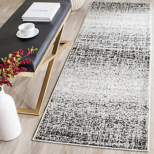 "Abstract 2'6"" x 4' Runner Rug, Gray/Black, rollover"