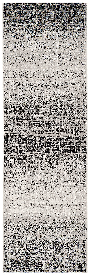 "Abstract 2'6"" x 8' Runner Rug, Gray/Black, large"