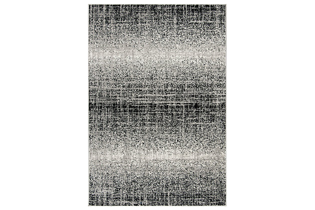 "Abstract 5'1"" x 7'6"" Area Rug, Gray/Black, large"
