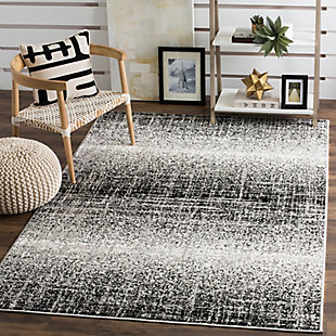 """Abstract 5'1"""" x 7'6"""" Area Rug, Gray/Black, rollover"""