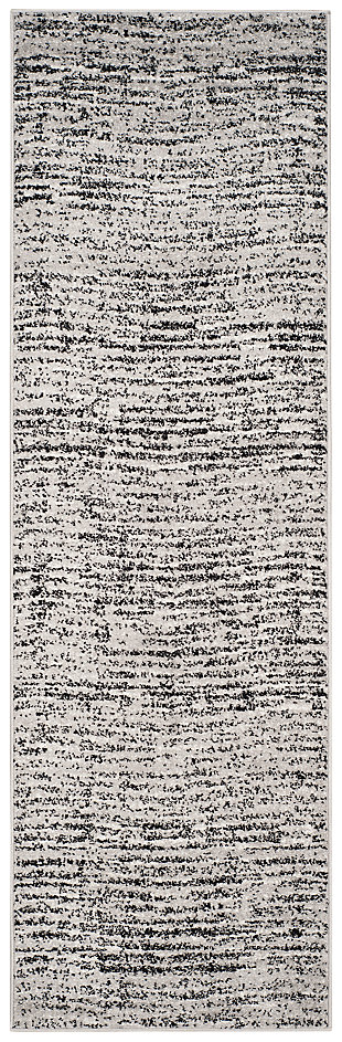 """Abstract 2'6"""" x 8' Runner Rug, Gray/Black, large"""
