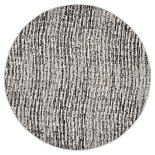 Abstract 4' x 4' Round Rug, Gray/Black, large