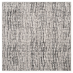 Abstract 4' x 4' Square Rug, Gray/Black, large