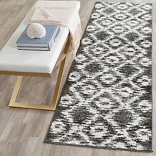 "Abstract 2'6"" x 8' Runner Rug, Gray/Black, rollover"