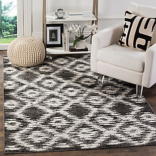 "Abstract 5'1"" x 7'6"" Area Rug, Gray/Black, rollover"