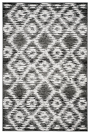 Abstract 6' x 9' Area Rug, Gray/Black, large