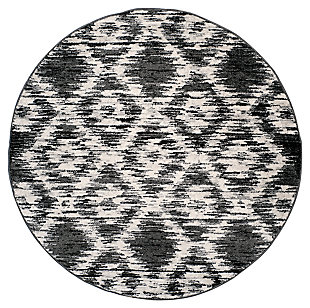 Abstract 6' x 6' Round Rug, Gray/Black, large