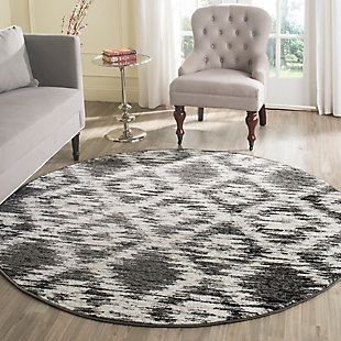 Abstract 6' x 6' Round Rug, Gray/Black, rollover