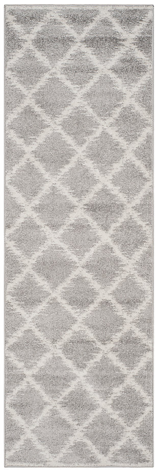 "Abstract 2'6"" x 6' Runner Rug, Gray/White, large"