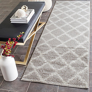 "Abstract 2'6"" x 12' Runner Rug, Gray/White, rollover"