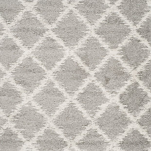 """Abstract 2'6"""" x 8' Runner Rug, Gray/White, large"""