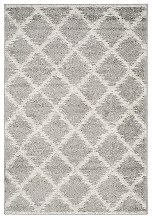 Abstract 3' x 5' Area Rug, Gray/White, rollover