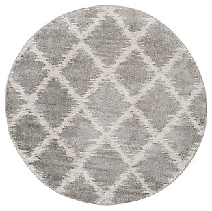 Abstract 6' x 6' Round Rug, Gray/White, large