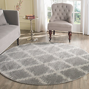 Abstract 6' x 6' Round Rug, Gray/White, rollover