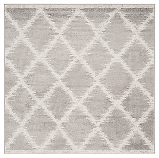 Abstract 6' x 6' Square Rug, Gray/White, large