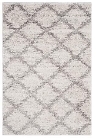 Abstract 4' x 6' Area Rug, Gray/White, rollover