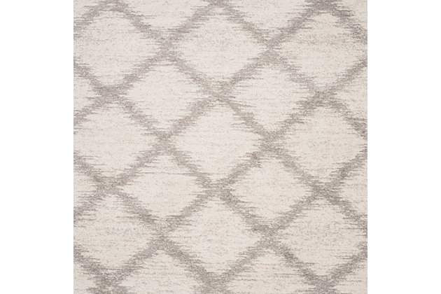 Abstract 4' x 6' Area Rug, Gray/White, large