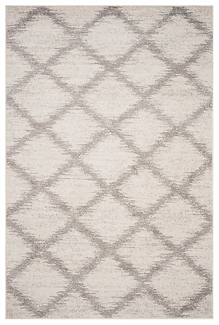 Abstract 6' x 9' Area Rug, Gray/White, large