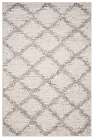 Abstract 6' x 9' Area Rug, Gray/White, rollover