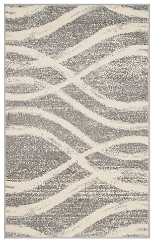 Ribbon 4' x 6' Area Rug, Gray/White, rollover