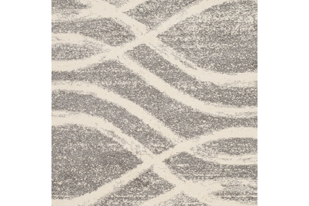 Ribbon 4' x 6' Area Rug, Gray/White, large