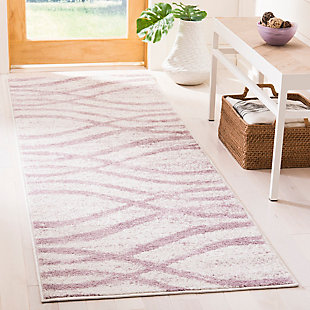 "Ribbon 2'6"" x 8' Runner Rug, Gray/White, rollover"