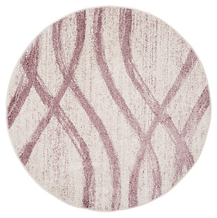 Ribbon 6' x 6' Round Rug, Gray/White, large