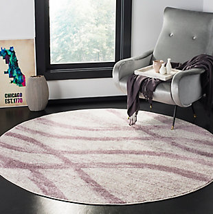 Ribbon 6' x 6' Round Rug, Gray/White, rollover
