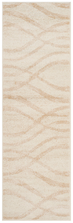 "Ribbon 2'6"" x 8' Runner Rug, Beige/White, large"