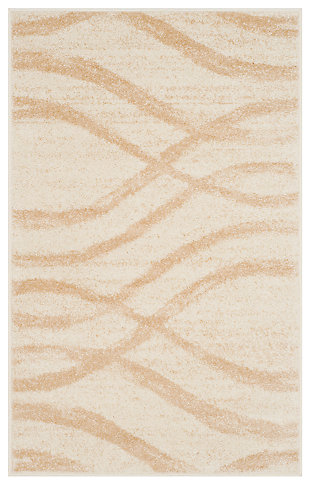 Ribbon 3' x 5' Doormat, Beige/White, large