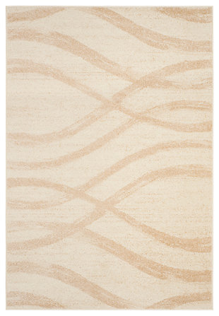 Ribbon 4' x 6' Area Rug, Beige/White, large