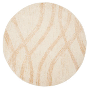 Ribbon 6' x 6' Round Rug, Beige/White, large