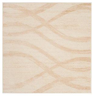 Ribbon 6' x 6' Square Rug, Beige/White, large