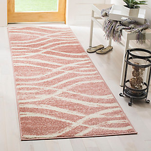 "Ribbon 2'6"" x 8' Runner Rug, Red/White, rollover"