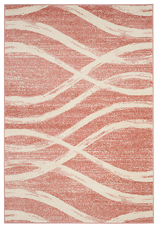 Ribbon 6' x 9' Area Rug, Red/White, large