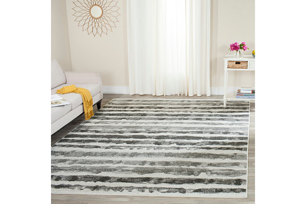 Modern 4' x 6' Area Rug, Black/White, large