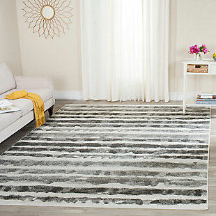Modern 4' x 6' Area Rug, Black/White, rollover