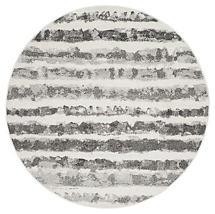 Modern 6' x 6' Round Rug, Black/White, large