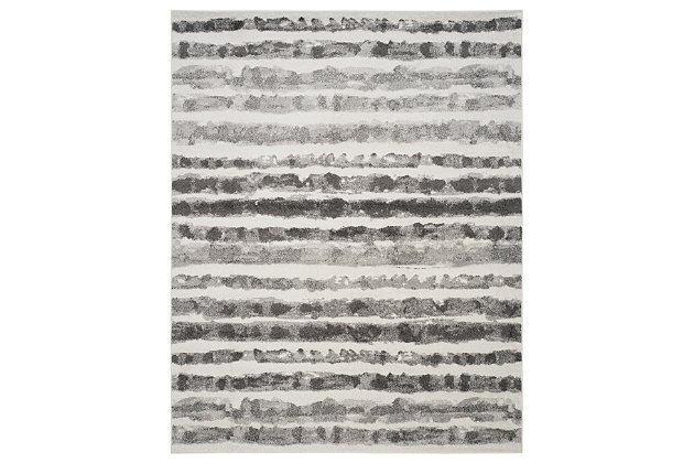 Modern 8' x 10' Area Rug, Black/White, large