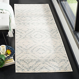 "Power Loomed 2'6"" x 8' Runner Rug, White/Blue, rollover"
