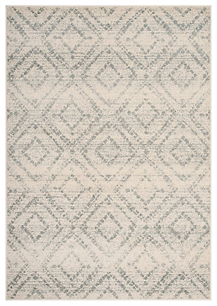 "Power Loomed 5'1"" x 7'6"" Area Rug, White/Blue, large"