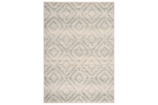 Power Loomed 6' x 9' Area Rug, White/Blue, large