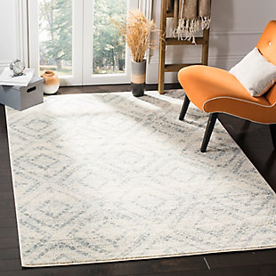 Power Loomed 6' x 9' Area Rug, White/Blue, rollover